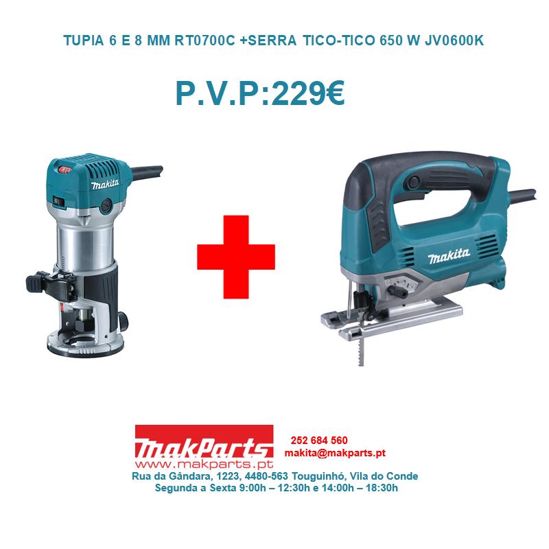 TUPIA 6 E 8 MM RT0700C + SERRA TICO-TICO 650 W JV0600K